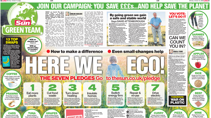 Sun asks readers to go green